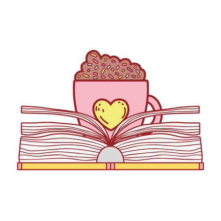 text book with coffee cup day celebration vector illustration design Ilustrace