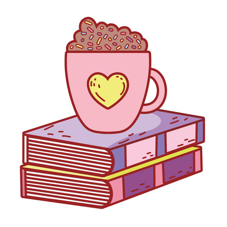 text book with coffee cup day celebration vector illustration design Çizim