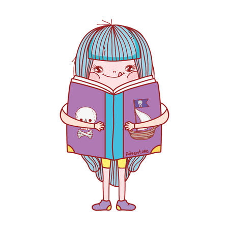happy little girl reading book vector illustration design Reklamní fotografie - 124904521