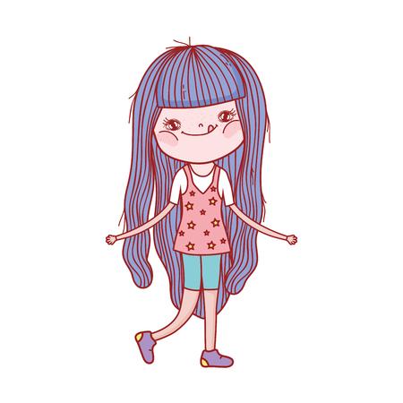 little girl cute character vector illustration design
