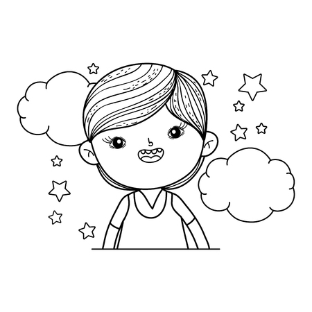 little boy with clouds and stars vector illustration design Ilustrace