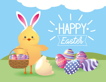 chick wearing rabbit ears with eggs decoration inside basket vector illustration