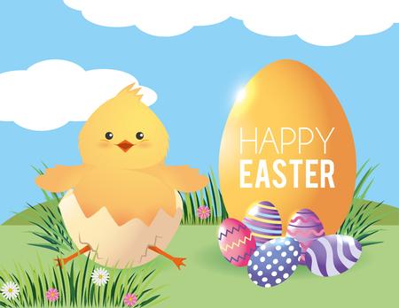chick inside egg broken with easter decoration vector illustration