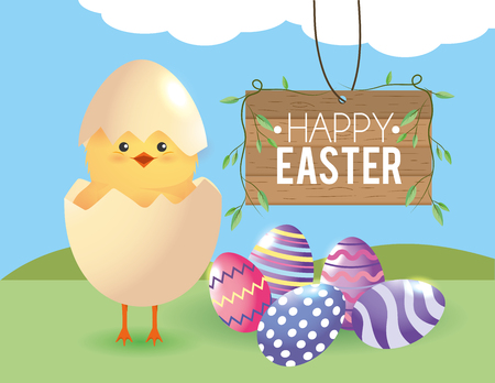 chick with egg broken and easter eggs decoration vector illustration