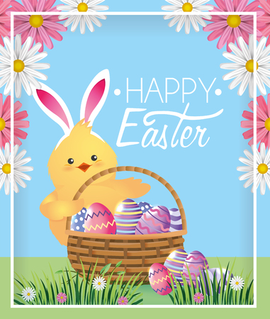 chick with rabbit ears and eggs inside basket vector illustration Illustration