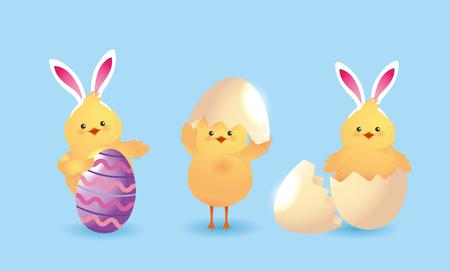 set chick wearing diadem rabbit ears and egg decoration vector illustration Illustration