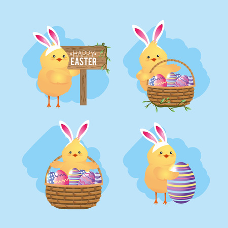 set chicks with basket and easter eggs decoration vector illustration