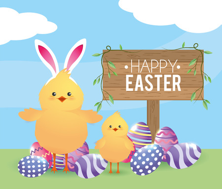 chicks with easter eggs decoration and rabbit ears diadem vector illustration