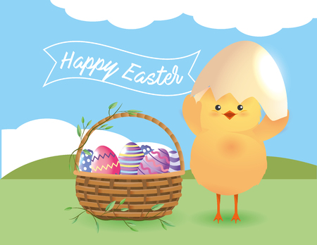 chick with egg broken and easter eggs inside basket vector illustration