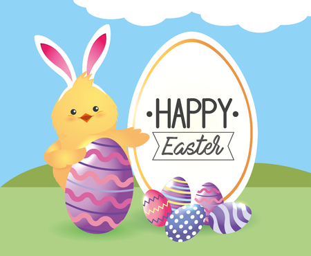 label with chick wearing rabbit ears and eggs decoration vector illustration