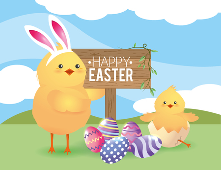 chicks with easter eggs decoration to event vector illustration