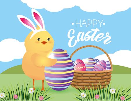 chick wearin rabbit ears with eggs decoration vector illustration Illustration