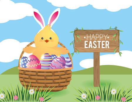 chick with easter eggs decoration inside basket vector illustration
