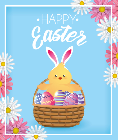 chick with eggs decoration inside basket and flowers vector illustration