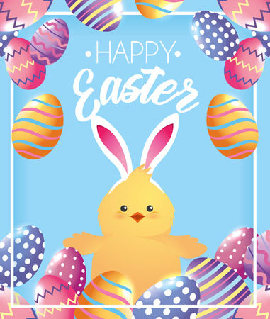 chick wearin diadem rabbit ears and eggs decoration vector illustration
