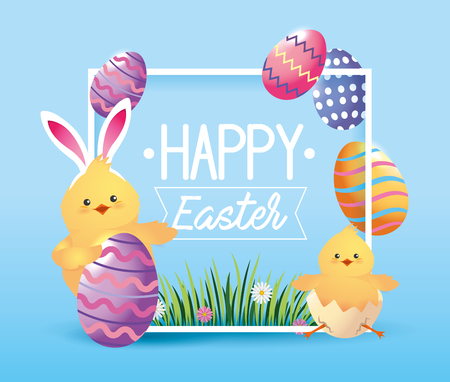chick wearin rabbit ears with easter eggs vector illustration