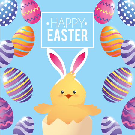 chick wearing rabbit ears with eggs decoration vector illustration