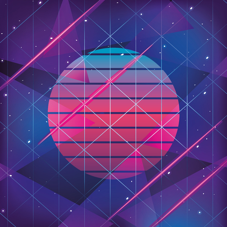 geometric graphic style with neon trendy background vector illustration Vector Illustration