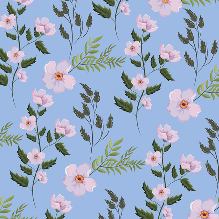 exotic flowers plants with branches leaves background vector illustration