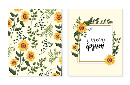 set card with exotic sunflowers and branches leaves vector illustration