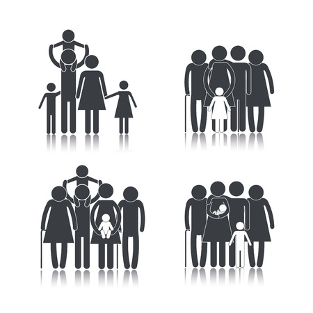 set family group together with son Banco de Imagens - 117842966