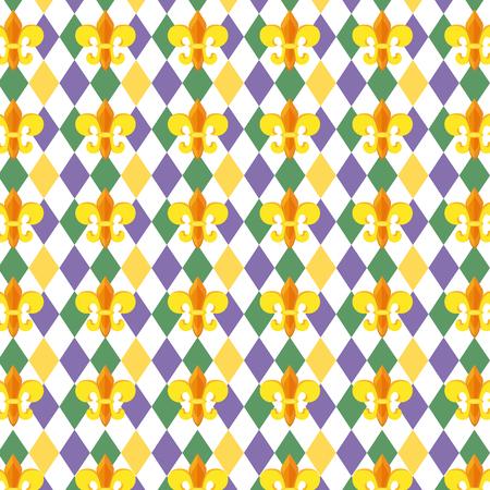 fleur de lis background decoration and harlequin pattern vector illustration graphic design Illustration