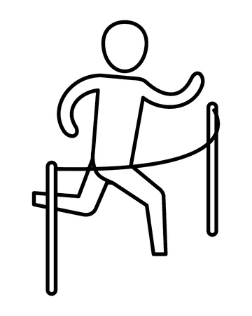 man pictogram reaching the goal cartoon vector illustration graphic design
