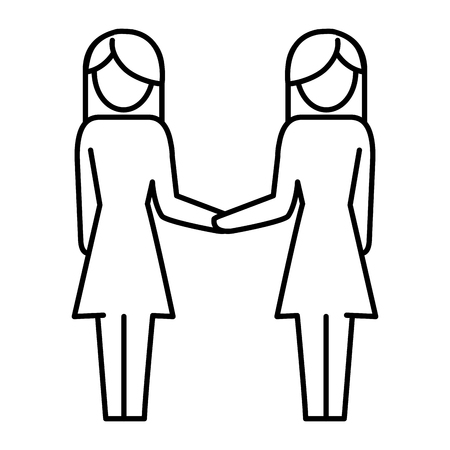 women pictogram shaking hands cartoon vector illustration graphic design  イラスト・ベクター素材