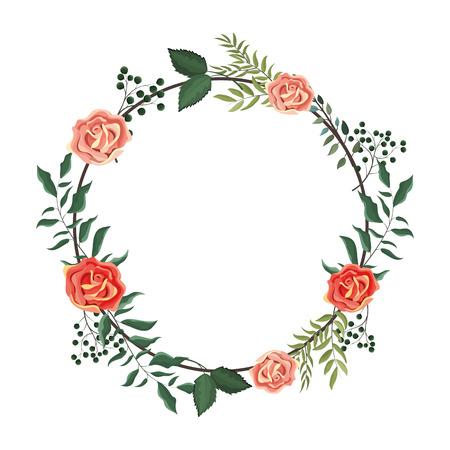Cadre floral de printemps avec des feuilles et des fleurs vector illustration graphic design