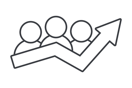 business social network people success arrow pictogram cartoon vector illustration graphic design