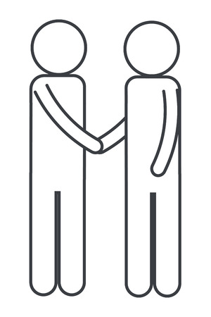 men pictogram shaking hands cartoon vector illustration graphic design