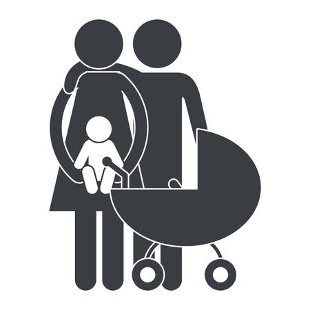 family pictogram with son cartoon vector illustration graphic design Vektorgrafik