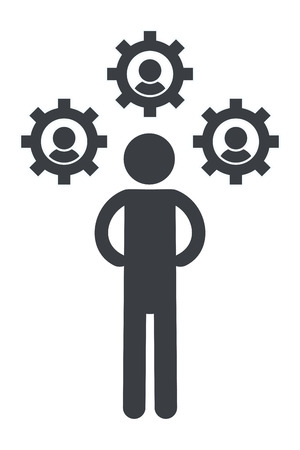 man pictogram gears support cartoon vector illustration graphic design