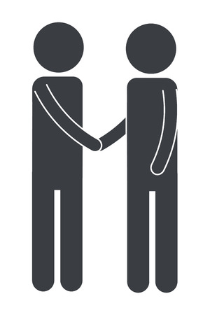 men pictogram shaking hands cartoon vector illustration graphic design 写真素材 - 124831578