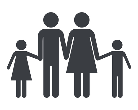 family pictogram couple with daughter and son cartoon vector illustration graphic design