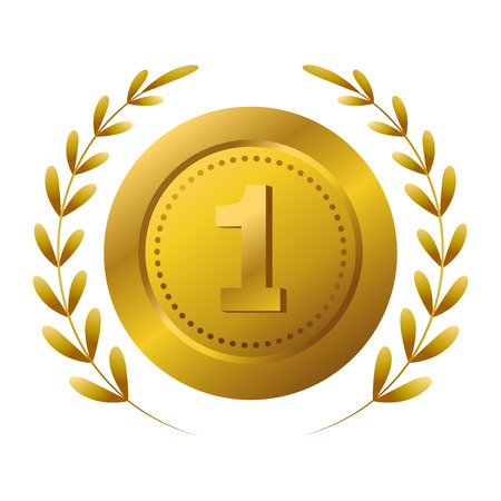 First place award medal with wreath vector illustration graphic design vector illustration graphic design Foto de archivo - 124831973