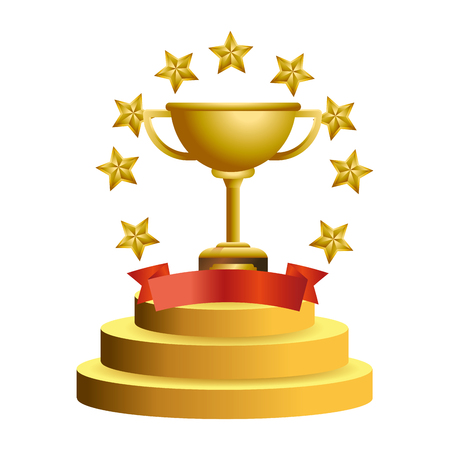 Trophy cup with stars and blank ribbon banner vector illustration graphic design vector illustration graphic design Foto de archivo - 124831974