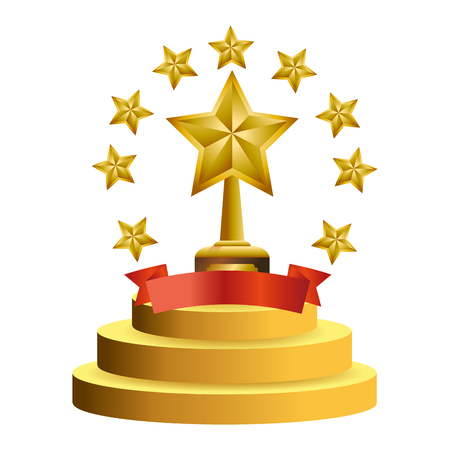 Trophy cup with stars and blank ribbon banner vector illustration graphic design vector illustration graphic design Foto de archivo - 124831977