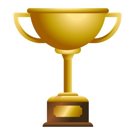 Trophy cup award on wooden box vector illustration graphic design vector illustration graphic design Foto de archivo - 124831978