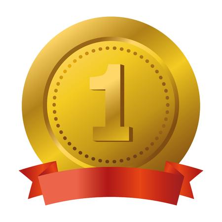 First place award medal with tibbon banner vector illustration graphic design vector illustration graphic design Foto de archivo - 124831993