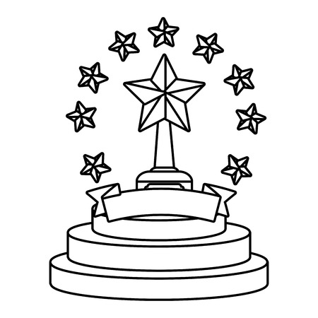 Trophy cup with stars and blank ribbon banner vector illustration graphic design vector illustration graphic design Foto de archivo - 124832014