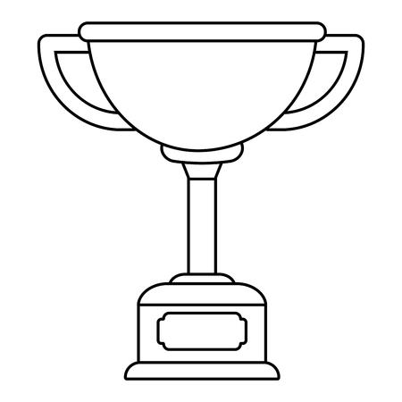 Trophy cup award on wooden box vector illustration graphic design vector illustration graphic design Foto de archivo - 124832015