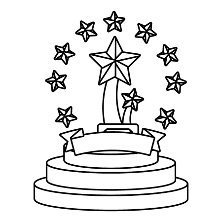 Trophy cup with stars and blank ribbon banner vector illustration graphic design vector illustration graphic design Foto de archivo - 124832018