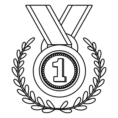 First place award medal in wreath vector illustration graphic design vector illustration graphic design Foto de archivo - 124832020