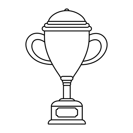 Trophy cup award on wooden box vector illustration graphic design vector illustration graphic design Foto de archivo - 124832030
