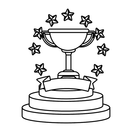 Trophy cup with stars and blank ribbon banner vector illustration graphic design vector illustration graphic design Foto de archivo - 124832547