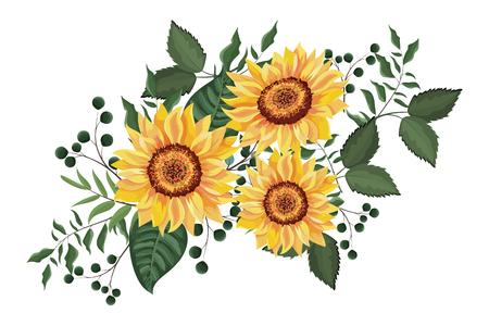 Cadre décoratif floral de printemps avec des fleurs laisse la conception graphique d'illustration vectorielle