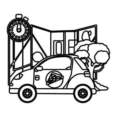 delivery service pizza shop car cartoon vector illustration graphic design