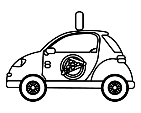 delivery service pizza shop car cartoon vector illustration graphic design Standard-Bild - 124832655