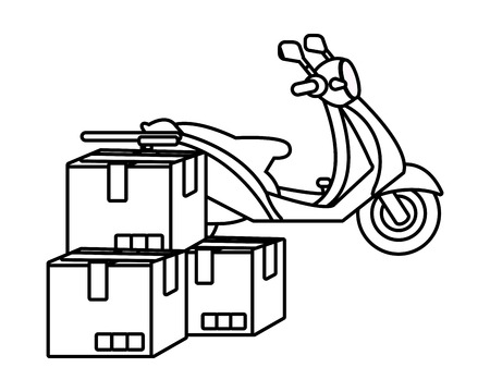 delivery service motorycle cartoon vector illustration graphic design Standard-Bild - 124832663